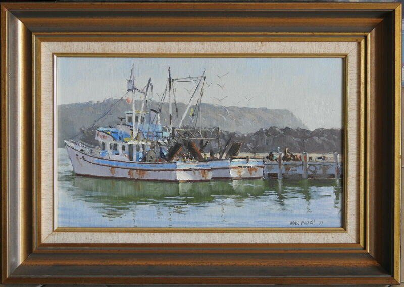 Allan+Fizzell+%281944-%29+Original+Oil+Painting+Fishing+Trawlers+Ulladulla+Seaside