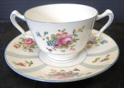 Antique Crown Staffordshire Henry Birks   Sons Bouillon Cup   Saucer