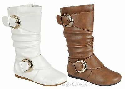 New Girls Dress Low Heel Zipper Boots Shoes White Tan Buckles Fall Winter - Girls White Boots
