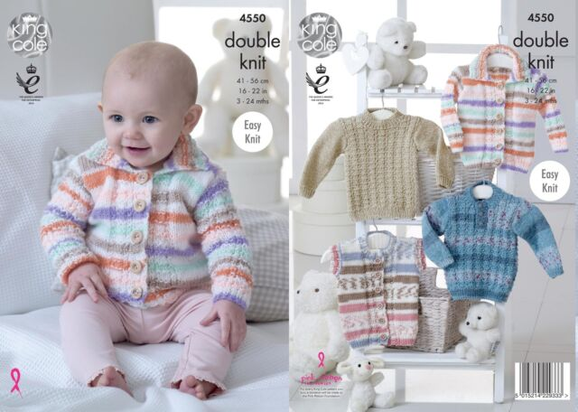 King Cole 4550 Knitting Pattern Babies Cardigan, Gilet and Sweater  in DK