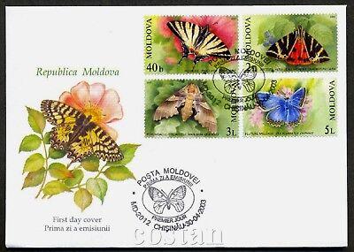 2003 Butterflies,Swallowtail,Oak Hawk-moth,Jersey Tiger,Meleager,Moldova,459,FDC image