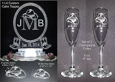 Western Themed Wedding Favors (30 Pc Personalized Western Theme Monogram Lit Wedding Cake Top Lighted )