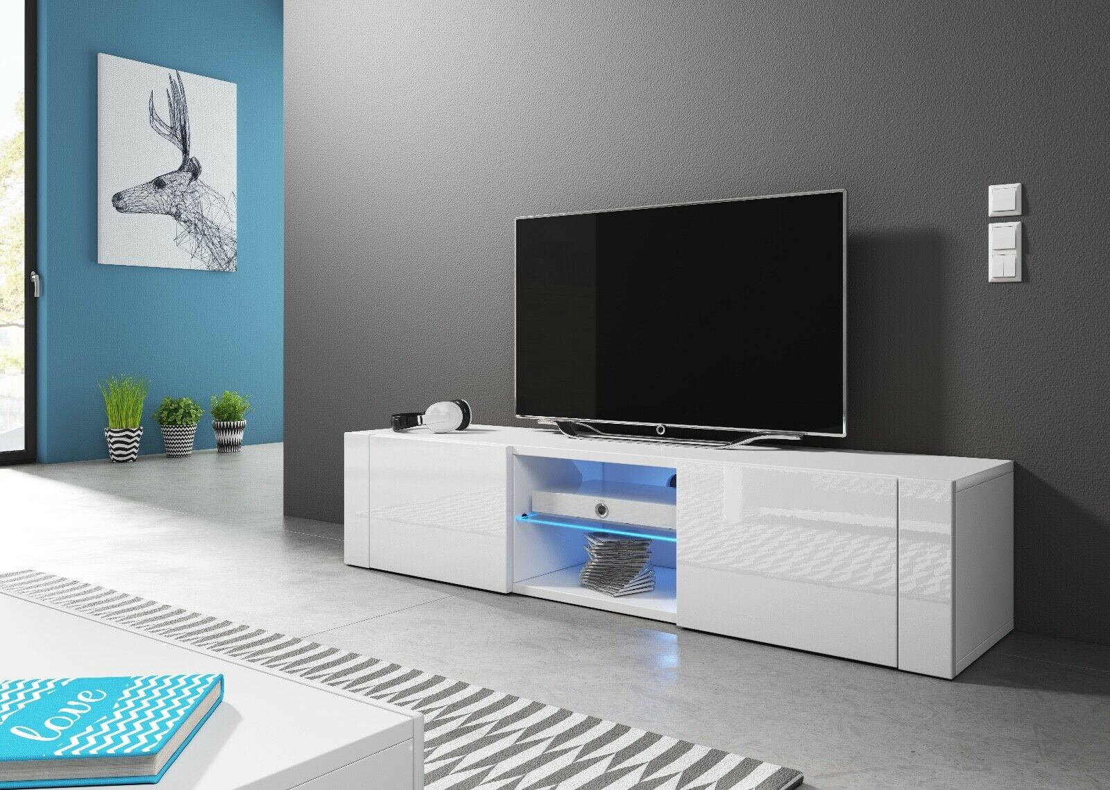 Sideboard Lowboard TV Fernsehschrank HIT 140 cm Kommode inkl LED Highboard NEU