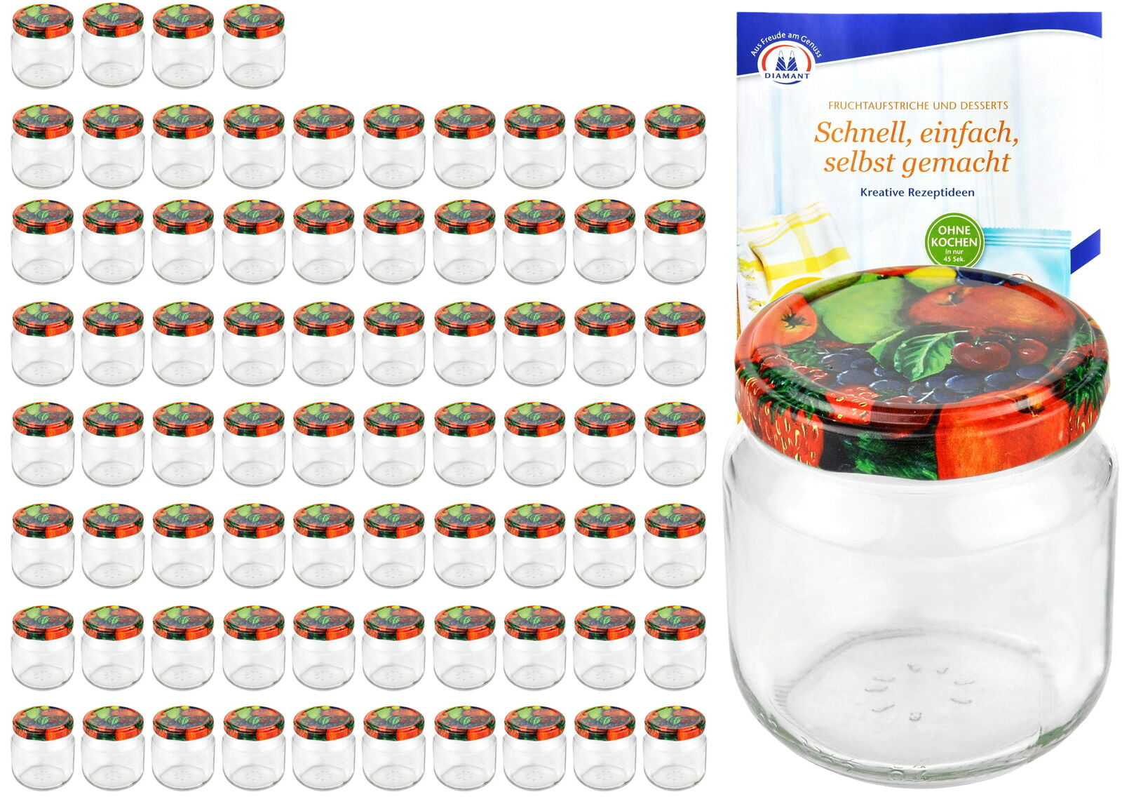 75 Rundgläser 212ml nieder Obst Dekor Einmachgläser Marmeladenglas Einweck Glas
