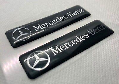 2x Mercedes-Benz Logo 3D gewölbte Aufkleber. Schwarz. Größe 65x17 mm