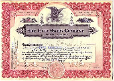 1914 City Dairy Company Stock Certificate Milk Cheese Dairy Farm Maryland