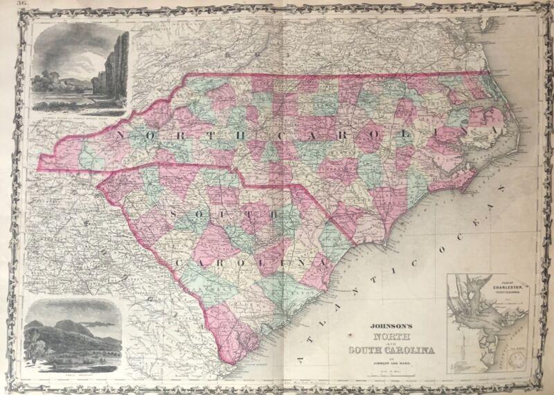Beautiful Hand colored map of North & South Carolina by Johnson and Ward 1863