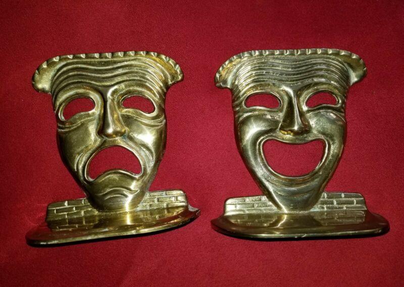 betsyraz 💙 DRAMA Theater Comedy Tragedy Masks Standing BRASS bookends