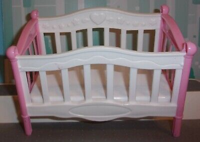 BABY 7 INCH  Dollhouse Furniture Polyfect Baby Crib Nursery Pink & WHITE GREAT