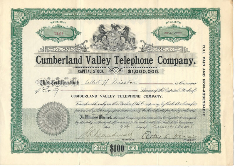 PENNSYLVANIA 1908, Cumberland Valley Telephone Company Stock Certificate
