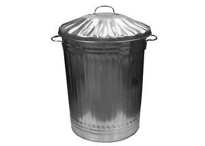 Galvanised Metal Bin Dustbin Trash Home Garden Compost Storage Waste Rubbish