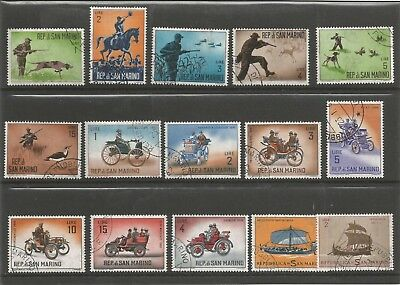 San Marino  1962  Hunting Vintage Cars Ships  Small Collection / Lot Used Stamps