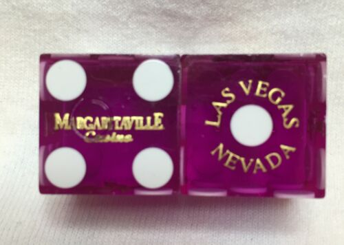 Pair of MARGARITAVILLE (palm tree) LV Casino Dice - Clear Purple, Matching #s