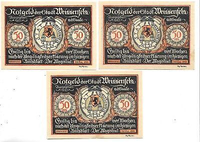 GERMANY NOTEGELD NOTES  3 - WEISSENFELA 50 PFENNING   NOTGELD NOTES(NN -36)