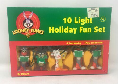 Warner Bros 1997 Looney Tunes 10 Light Holiday Fun Set Tweety Bugs Taz by Minami