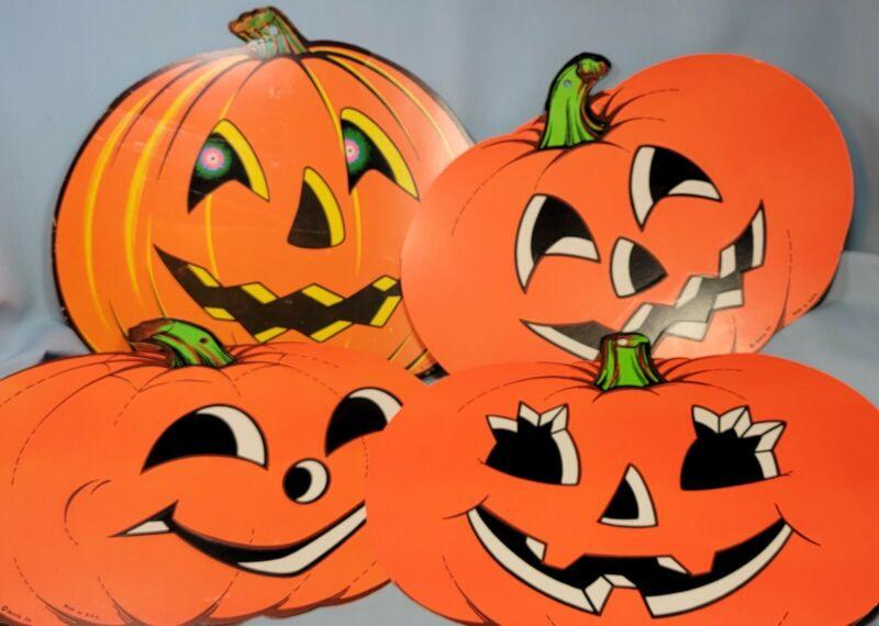 Vintage Halloween Beistle Die Cut Pumpkins Jack O Lanterns USA