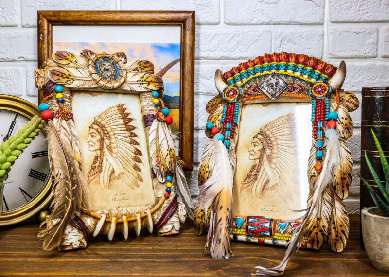Pack of 2 Southwest Native Indian Wolf Dreamcatcher Wall Or Table Picture Frames