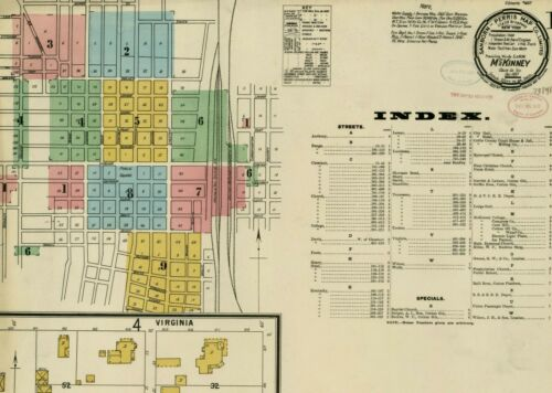 McKinney, Texas~Sanborn Map© sheets~106 maps in color~1885-1920 on CD