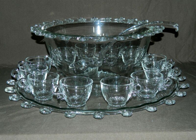 HEISEY LARIAT HUGE Punch Bowl Set with Underplate 12 Cups and Ladle