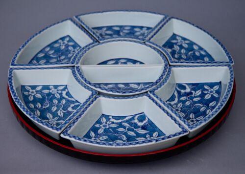 "LARGE 18"" JAPAN BLUE AND WHITE Porcelain LAZY SUSAN W/Lacquered Base 9 Pieces"