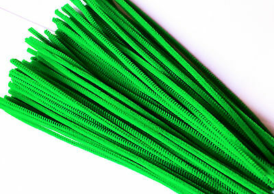 GREEN Pipe Cleaners 30cm x 6mm Chenille Craft Stems