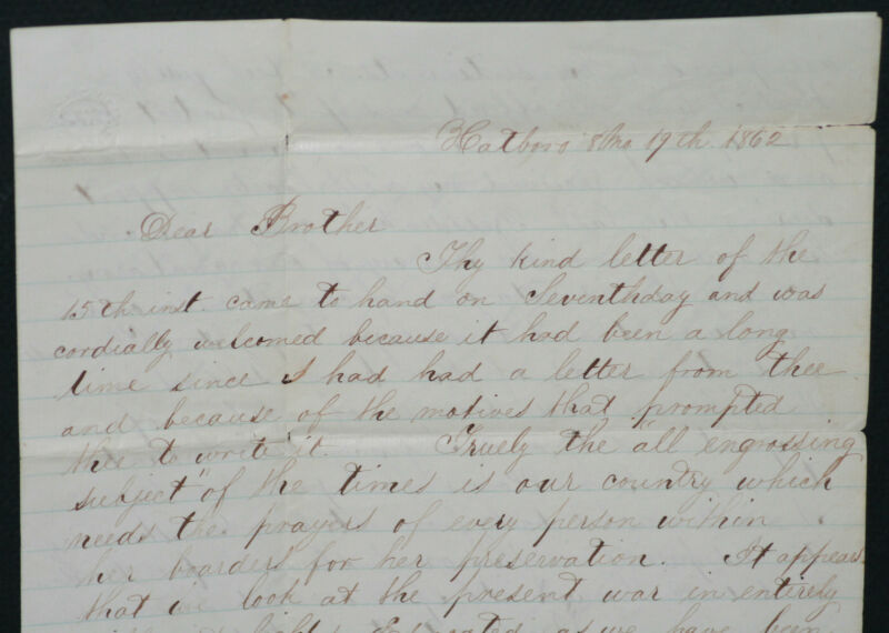 1862 Civil War 4 Page Letter From Surgeon to His Brother