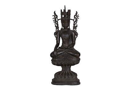 Burma - Big Disc Buddha Statue - a Burmese Bronze Crowned Figure of Buddha