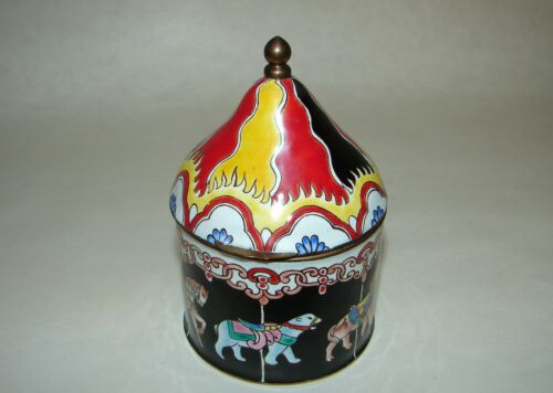 Vintage Chinese Enameled Cloisonné Carousel with Horses Jewelry Trinket Box