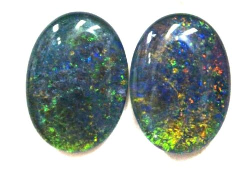 18x13mm Loose Stones Pair Of Natural Black Triplet Opal Stones For Earring #24