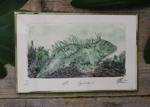 Large Green Iguana Framed Etching Handmade Mexican Folk Art by Genaro Abelar
