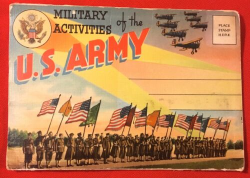 "WWII ""Military Activities In The"" U.S. Army Fold Out Postcard, Unused"