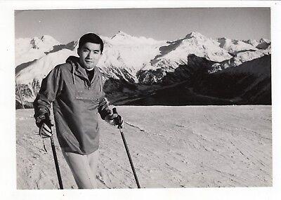 Vintage 5x7 Photo Handsome Man Skiing Ski Mountain 1960's Fashion Asian Jul18