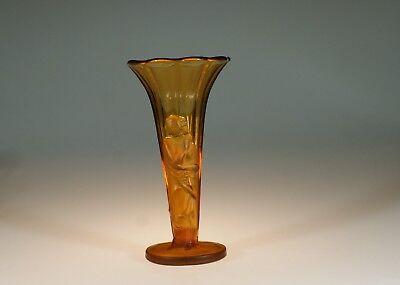 Vintage Deco Czech Glass Amber Draped Lady Figural Vase c.1930