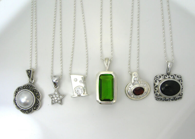 """NEW Wholesale Lot of 6 Pendant Necklaces 925 SOLID Sterling Silver 39.8g 18"""""""