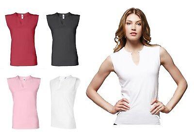 Bella Ladies Size S-XL, 2XL Cotton Spandex Slit V Sleeveless T-shirt Womens b820