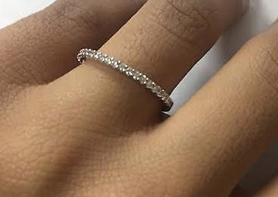 0.70 Ct. 14K White Gold Wedding Band Diamond Band Round Solid White Gold Ring ()
