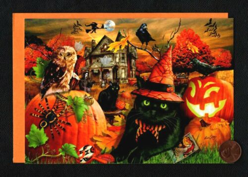 HTF HALLOWEEN Black Cat Owl Haunted House Crow Witch - Greeting Card W/ TRACKING