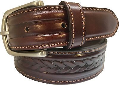 100% REAL ITALIAN LEATHER BELT COGNAC TAN  BRAIDED EMBOSSED S M L XL XXL - Italian Braided Belt
