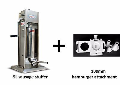 5L/11LB Vertical 2Speed Stainless Steel Meat Press Filler With Burger Attachment