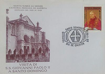 Dominican Republic FDC Cathedral Vignette Pope John Paul II 25 Jan 1978 RARE