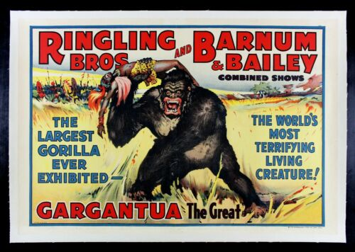 RINGLING BROS BARNUM BAILEY ✯ CineMasterpieces GARGANTUA GORILLA CIRCUS POSTER