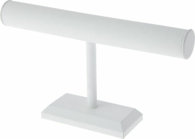 Plymor White Faux Leather T-bar Bracelet Display Stand 12 X 6.75 Pack Of 2