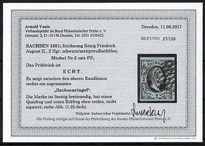 AD SACHSEN 1851; MiNr. 5 PF I ; 1 Ngr,; SACHSENRINGEL; aktueller BPP BEFUND