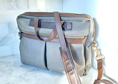 Mismo - Office Briefcase Grey Brown Leather Rare Colorway