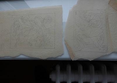 DRAGONS  ARTS & CRAFTS PART COMPLETE ARTWORK DESIGN FOR LEATHERWORK  17X26 CM