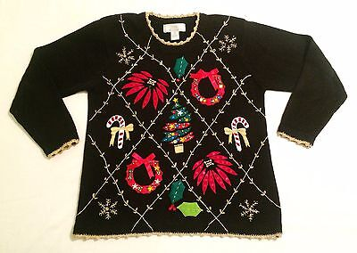 Vtg Lisa International AWESOME UGLY Christmas Holiday Sweater BEDAZZLED SPARKLY