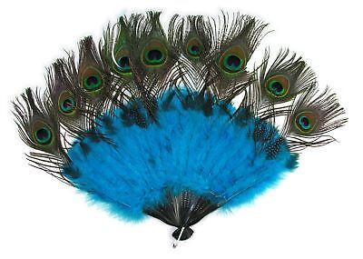 Pfau Schwanz Fächer Federn Marabu Mardi Gras Halloween Kostüm-zubehör (Pfau Halloween Kostüm Zubehör)