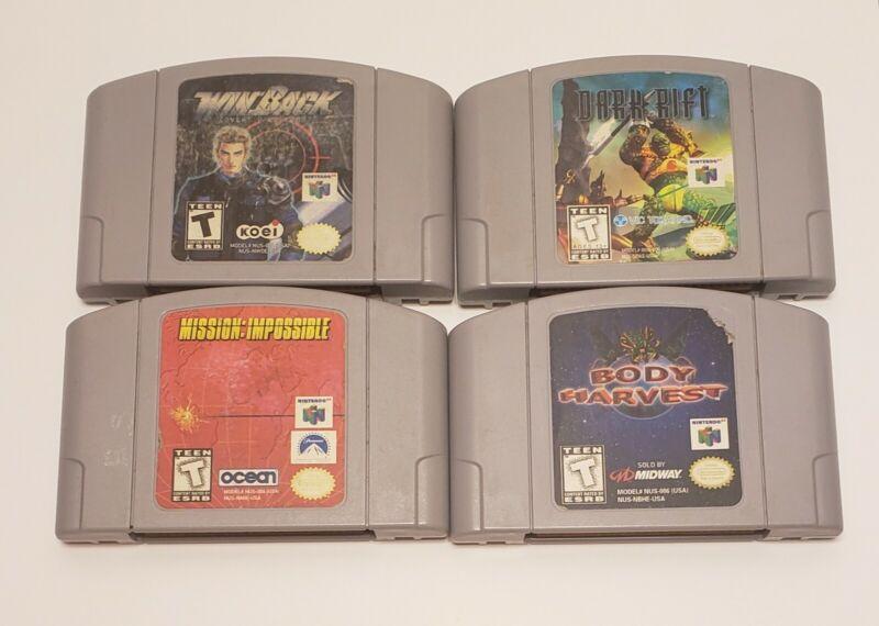 Nintendo 64 Games Action Lot of 4 Bundle N64 Dark Rift Body Harvest MI Win Back