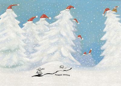 Kunstkarte: Carola Holland - O Tannenbaum / Bäume im Schnee