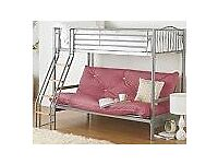 Bed with futon sofa under ( pink )
